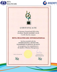 Beta's Certificate Award
